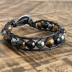 Tiger Eye - Black Onyx - Hematite Leather Bracelet